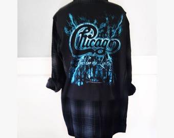 Vintage Chicago concert Flannel Tee Chicago concert t shirt new black plaid flannel shirt unisex size men's xl