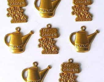 Set of 8 metal watering cans and flowers - gardening charms