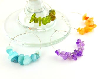 Bohemian Wine Glass Charms - Set of 4 - Stone Wine Glass Charms - Bohemian Wine Tags - Rustic Wine Charms - Rustic Wine Tags - Wine Charms