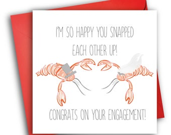 Lobster Engagement Card/Quirky Greetings Card