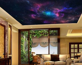 Galaxy wallpaper, ceiling stars, ceiling nebula wallpaper, star wallpaper, ceiling universe wallpaper, ceiling wall mural, universe ceiling,