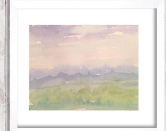 Watercolor Mountain, abstract art print,  landscape Painting, Original watercolor nursery art, Blue and green painting, watercolour