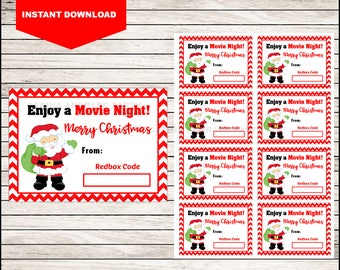 Printable Movie Night Gift Tag - Instant Download - Merry Christmas To All And To All A MOVIE NIGHT!