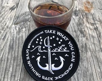 Take What You Can Patch - Embroidered Patch, denim jacket patch, pirates, pirate code, embroidered patch, punk patch, sword, cutlass, anchor