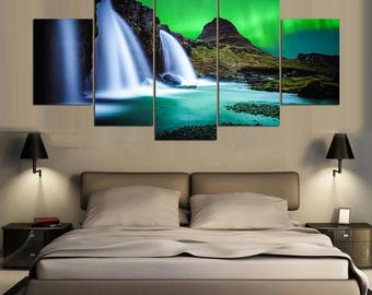 Aurora Borealis Canvas Art, Aurora Borealis Wall Art,  Aurora Borealis Waterfall 5 Piece Canvas Print,  Aurora Borealis Wall Decor