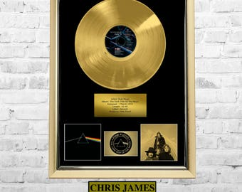 Pink Floyd - The Dark Side Of The Moon Gold Disc Vinyl Frame Presentation Rare Custom