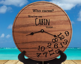 Funny Cabin Gifts - Gifts for People Who Have a Cabin - Gifts for cabin Decor - Gifts for Cabin Owners - Cabin Clock - Lake - Cabin Time