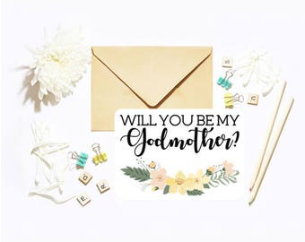 Will You Be My/Our Godmother? Single Postcard With Envelope Baby Christening Baptism Question