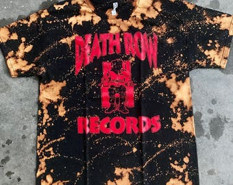 Death Row Records Bleached T Shirt new black 2 pac