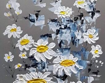 """Fleurs marguerites 12"""" x 8"""" acrylique sur aluminium à l'état naturel / Daisy flowers 12 in x 8 in acrylic on natural aluminum"""
