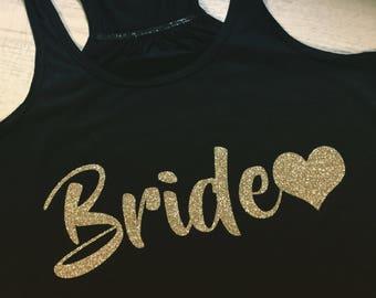 Custom Bride Tank-Bella Canvas Racerback Flowy tank-Gold Glitter