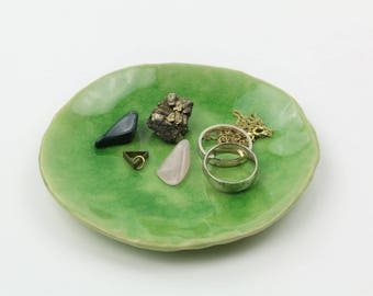 """Boho Ring bowl """"rings and things"""" jewelry store jewelry bowl Ceramic Green d 12 cm"""