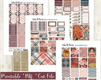 Fall Orchard Light Printable Planner Stickers/Weekly Kit/For Use with Erin Condren/Cutfiles Fall September Glam Apple Pie Orchard Glitter