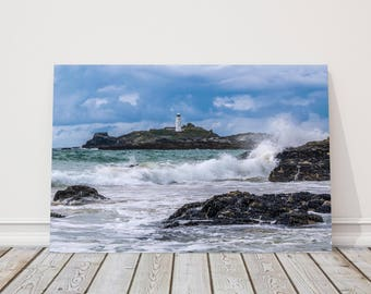 Godrevy lighthouse near St Ives Cornwall  Canvas Print Wall decor for home or office (Interior) beach seascape. Ideal gift birthday present