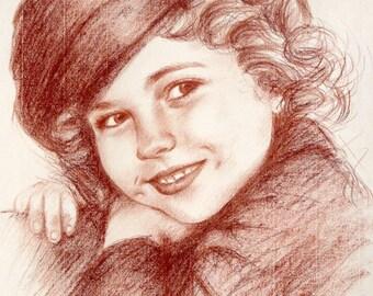 "Original portrait of girl (Shirley Temple) 30 x 40 cm 12 x 16 """