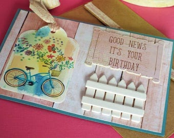 Good News birthday wishes – You'll be delivering good news with this vintage inspired handmade greeting card - with coordinating envelope