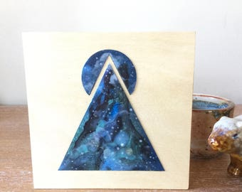 "5"" x 5"" Geometric Space Nebula Painting on Birch Panel"