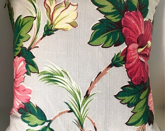Vintage Hibiscus Barkcloth Pillow/Cushion Cover.