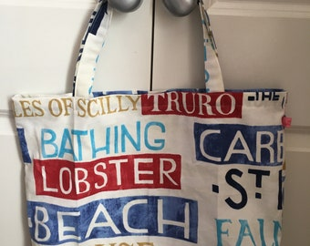 words of Cornwall tote bag, swimming bag, beach bag, holiday bag
