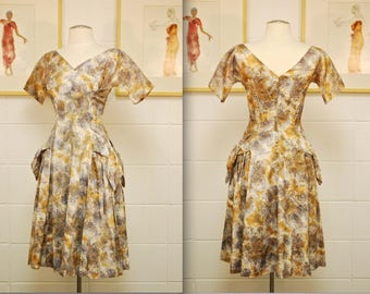 1950's/60's Brown and Mauve Fit and Flare Party Dress with Rhinestone Pocket Accents / Rockabilly / Rare Collectible Retro