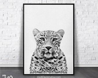 Nursery Animal Print, Safari Animal Wall Art, Printable Digital Download, Black and White Nursery, Baby Room Print, Leopard, Cheetah Print
