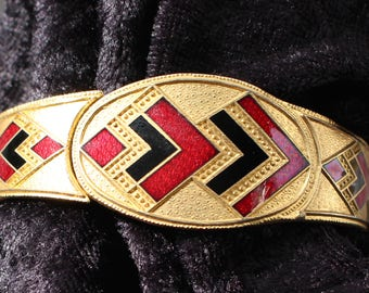 NBT #63 Vintage Gold Tone Hinged Bracelet with Red and Black Enamel Art Deco Look