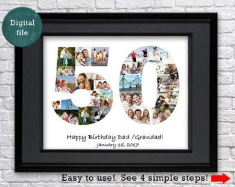 50th Birthday gift 50th Anniversary gift Personalized gift 50th Birthday man  Custom gift for women gift for men photo collage