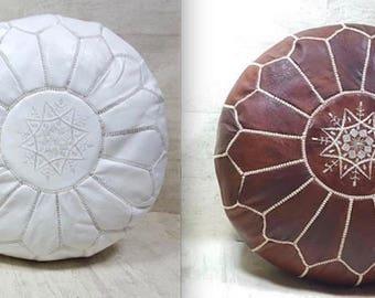 2 x Moroccan leather pouf  handmade leather pouf poufs  ottoman Tan unstuffed