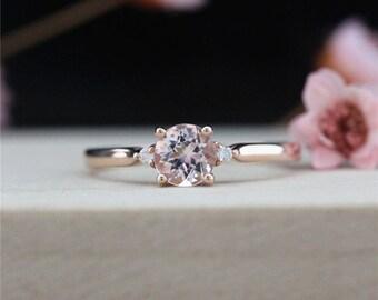 5mm Round Cut Morganite Ring 14k Rose Gold Ring Morganite Engagement Ring Diamond Ring Wedding Ring Anniversary Ring Handmade Promise Ring
