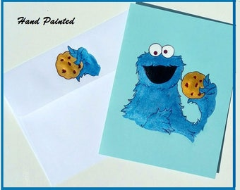 Cookie Monster Card,Hand Painted Card,Sesame Street Card,Hand Painted Cookie Monster,Cookie Monster Art,Blank Card,Any Occasion Card
