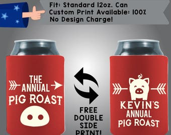 The Annual Pig Roast Piggy Collapsible Neoprene Custom Can Cooler Double Side Print (BBQ01)