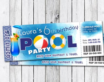 Pool party invitation, Pool party birthday, Pool party birthday invitation, Pool party ticket, Pool party printables, Pool ticket invitation