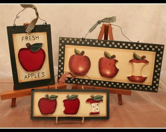 Set of Three Wooden Apple Signs, Farm Fresh Apple Signs, Apple Orchard, Fresh Apples, Farmhouse Decor, Vintage Apple Wall Hanging