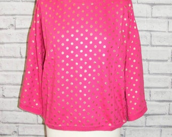 Size 16-18 vintage 50s style jumper 3/4 sleeve hot pink with gold polkadots BNWT