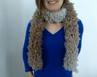 Scarf - Boa - beige to white in acrylic and wool