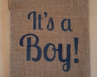 Burlap Bag, It's a Boy! Burlap Bags, Burlap Gift Bags, Gift Bags, Party Bags, Baby Shower Bags