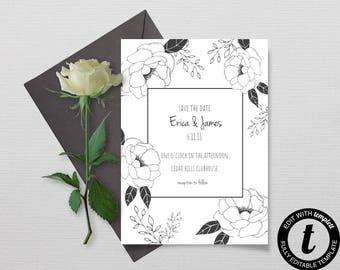 Modern Save The Date Template, Floral DIY Save The Date Card, Printable Card, Instant Download Save the Date Invite Template,