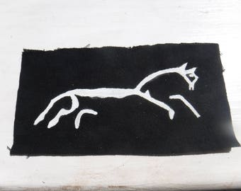 Celtic White Horse Hand Painted Patch