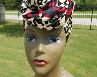Cream, Black And Red African Headwrap;Cream Headwrap; African Clothing; African Fabric Headwrap; African Scarf: Headwrap; Head tie