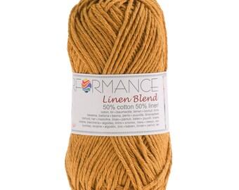 10 x 50 g knitting wool linen blend, #190 yellow
