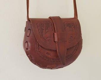 Leather Crossbody bag • Brown Leather Handbag • Vintage Leather Bag • Small leatherBag • Handmade Bag •Tooled leather bag•Festival Crossbody