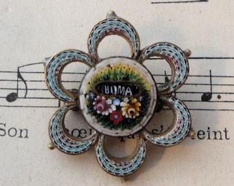 Antique Italian Micro Mosaic Miromosaic Brooch Pin Roma c1900