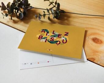 Postcard A6 go Kiss / botanical & graphic card