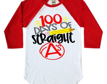 100 Days Of Straight A's Kids Raglan Shirt - 100 Days Of School - Youth Raglan Shirts - Baseball Shirt - Trendy Kids - School Shirt - TShirt