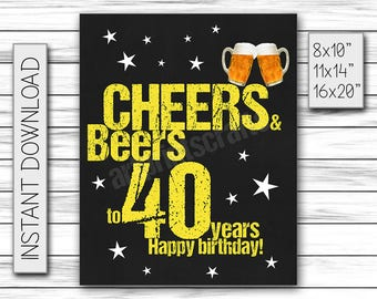 Cheers & Beers to 40 Years, Birthday Sign, Cheers and Beers Party Sign, Instant Download, Chalkboard Poster, Printable DIGITAL FILE Only