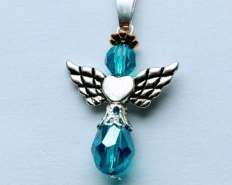 Birthstone Angel pendant // Custom Birthstone Angel pendan
