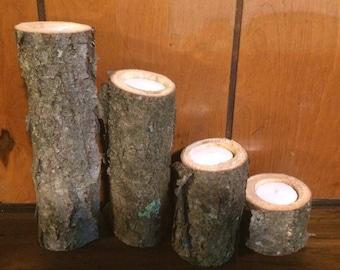 Black Cherry natural log candle holder set