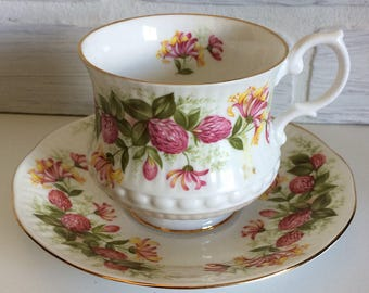Royal Minster English Tea Cup and Saucer pink clover with flowers