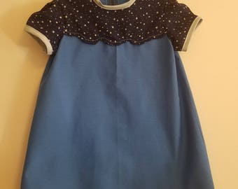 Children's 4T dress - blue with star accent; vintage inspired