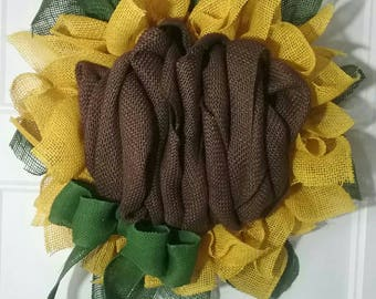Burlap Sunflower Wreath, medium sized burlap sunflower with green ribbon accent for fall or all year round.